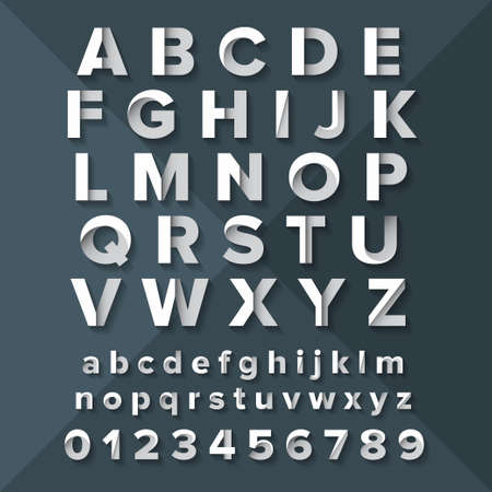 Vector Alphabet Set Silver on Dark Blue background. Illustration