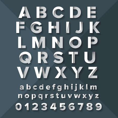 Vector Alphabet Set Silver on Dark Blue background. Illustration