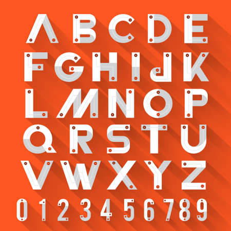 Alphabet strong style with flat design & long shadow orange background