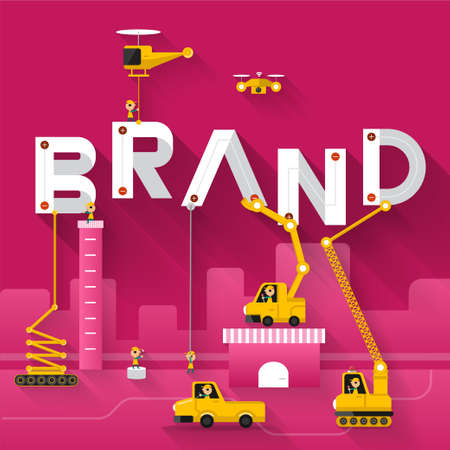 Engineering gebouw tekst Brand. Illustraties Vector Illustreren Stock Illustratie
