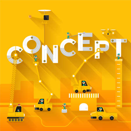 building site: Construction site crane building concept text, Vector illustration template design
