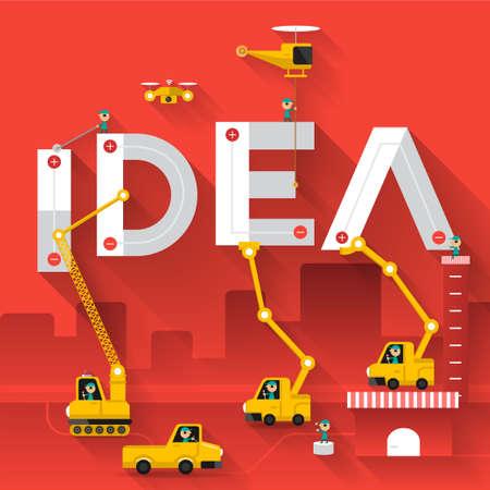 Bouw kraan bouwconcept tekst, Vector illustratie sjabloon ontwerp tekst IDEA