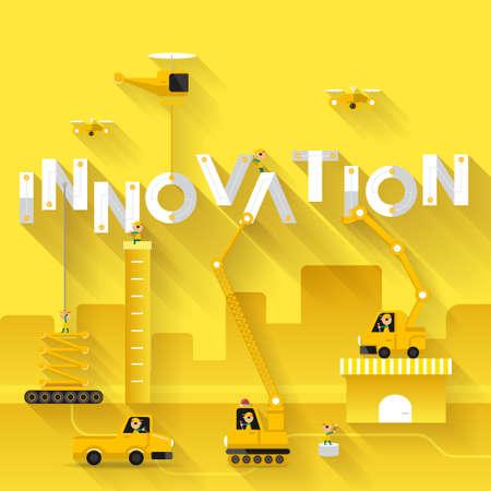 productividad: Obras de construcción de la grúa texto edificio Innovación, diseño de ilustración vectorial plantilla Vectores