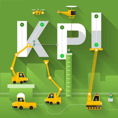 Bouwplaats kraan gebouw KPI tekst, Vector illustratie sjabloon ontwerp Stock Illustratie
