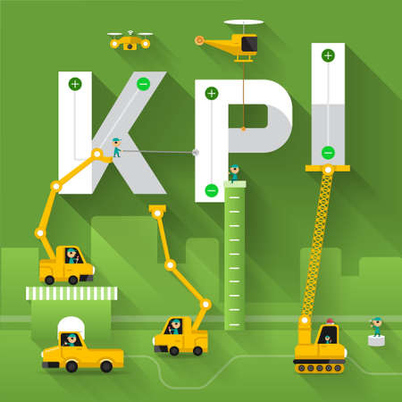 kpi: Construction site crane building KPI text, Vector illustration template design