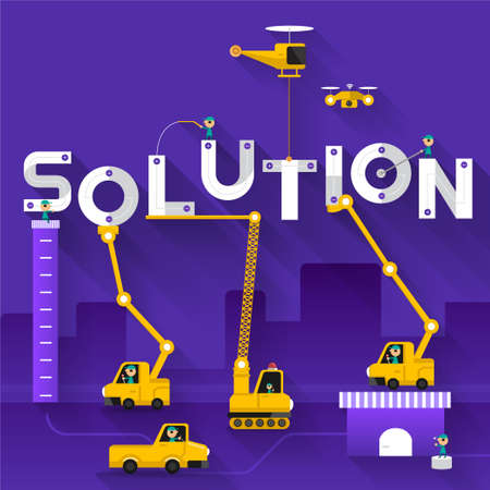 Construction site crane building Solution text, Vector illustration template design