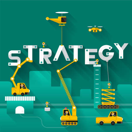 building site: Construction site crane building Strategy text, Vector illustration template design Illustration