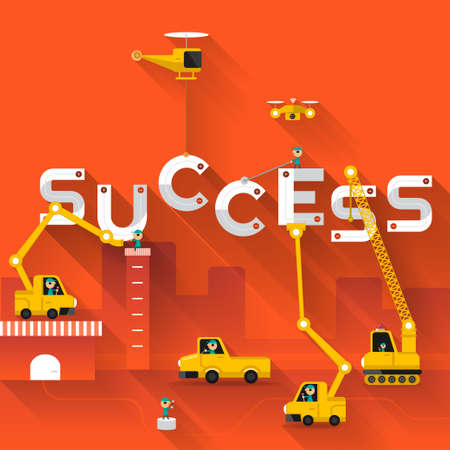under construction sign with man: Construction site crane building Success text, Vector illustration template design