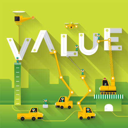 Construction site crane building Value text, Vector illustration template design