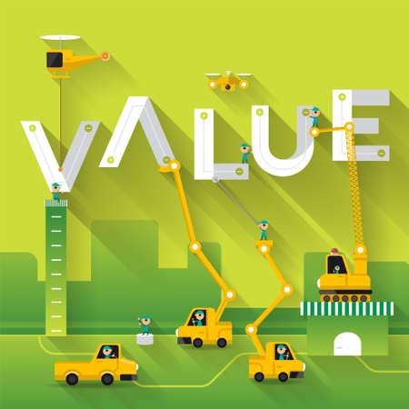 Construction site crane building Value text, Vector illustration template design