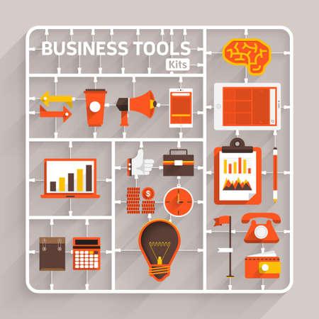 Vector modèle de design plat kits pour outils créatifs. Elément pour une utilisation à la réussite pensée créative Vecteurs