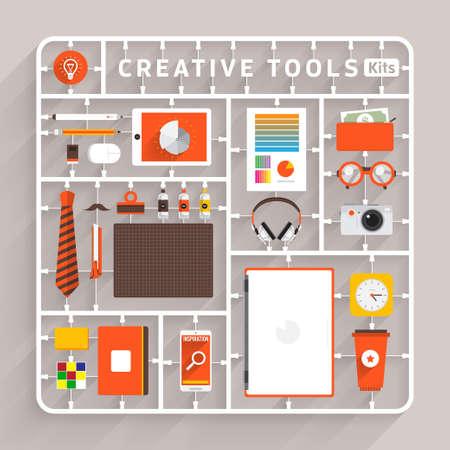 창조적 인 도구 벡터 평면 설계 모델 키트. 성공 창의적 사고에 사용하기위한 요소
