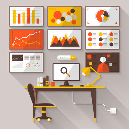 seo services: Flat vector illustration of web analytics information and development website statistic - vector illustration