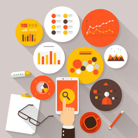 business desk: Flat vector illustration of web analytics information and development website statistic - vector illustration