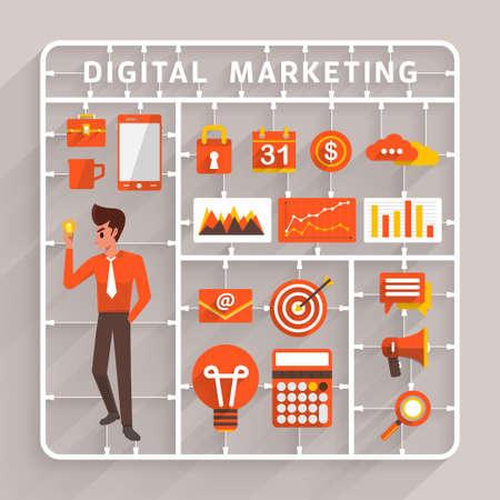ベクトルのフラットなデザインのデジタル マーケティングのためのガンプラ。成功ビジネスと分析情報を使用するための要素