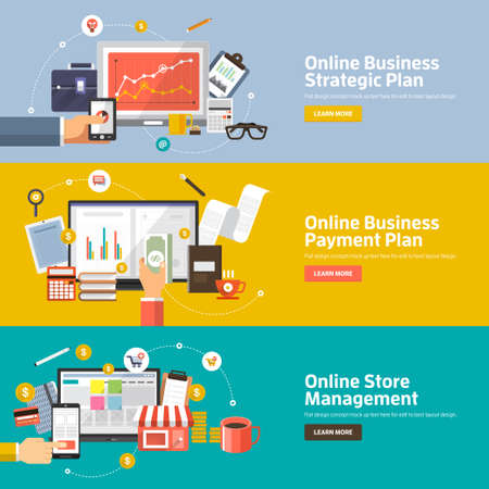 Flat design concepts for Online Business Strategic Plan, Payment Plan, Store Management  Concepts for web banners and promotional materials.
