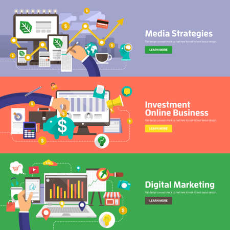 メディア戦略、投資オンライン ビジネス、デジタル マーケティングのための平らな設計概念。Web バナー広告や販促資料の概念。  イラスト・ベクター素材