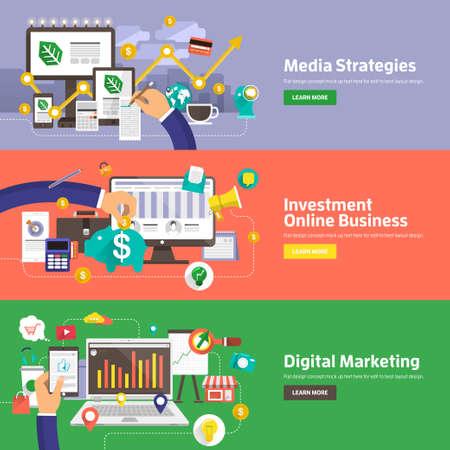 미디어 전략, 투자 온라인 비즈니스, 디지털 마케팅을위한 평면 설계 개념. 웹 배너 및 홍보 자료에 대한 개념. 일러스트