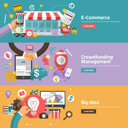 Web バナー、販促資料の E-コマース、クラウドファンディング管理、大きなアイデアの概念のためフラットなデザイン概念。  イラスト・ベクター素材