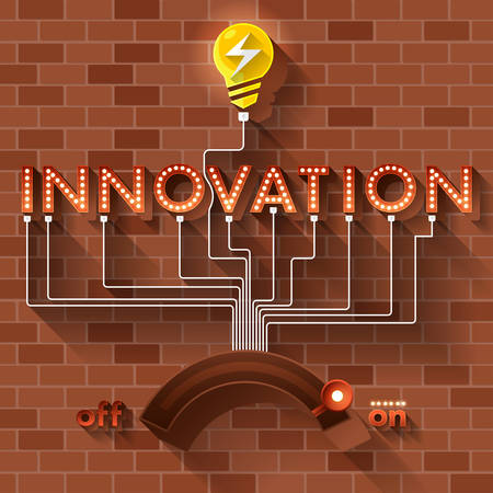 Text vector INNOVATION ball light on brick background.