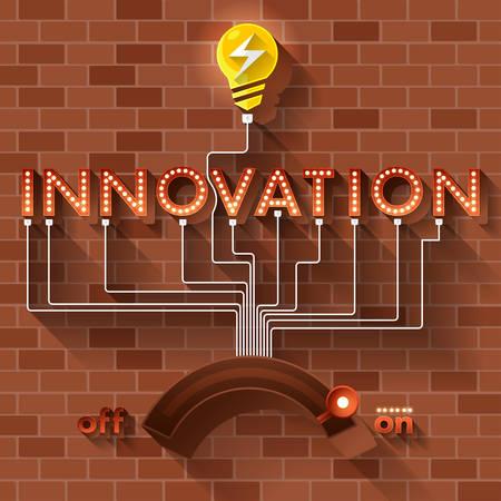 pensamiento creativo: Vector Texto pelota INNOVACIÓN luz en el fondo de ladrillo.