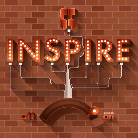inspire: Text INSPIRE vector ball light on brick background.