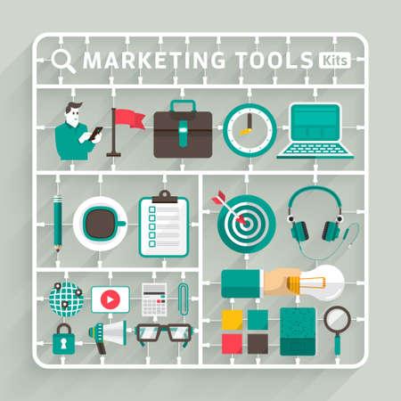 Vector maquetas diseño plano para las herramientas de marketing. Elemento para el uso para el pensamiento creativo éxito