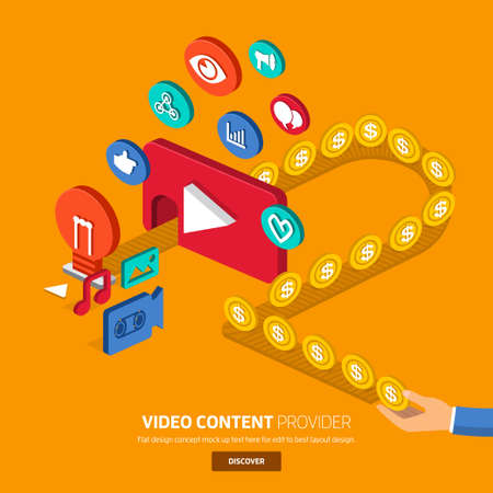 Video content marketing.Flat design concept for make momey with video.3d oblic vector. Illustration