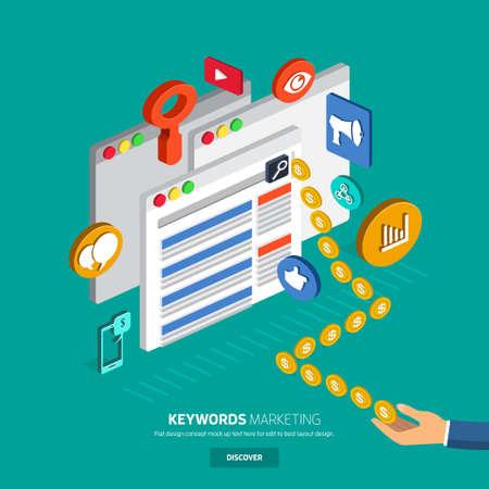 Flat designconcept geld verdienen met trefwoord in de zoekmachine online. SEO, SEM