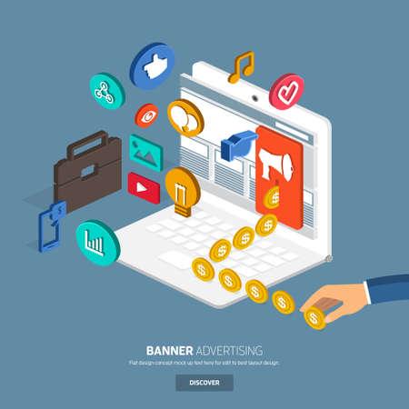 マーケティングのためのバナー広告。フラット デザインのコンセプトは、website.3d 裏返る-oblic ベクトルのバナーと momey です。  イラスト・ベクター素材