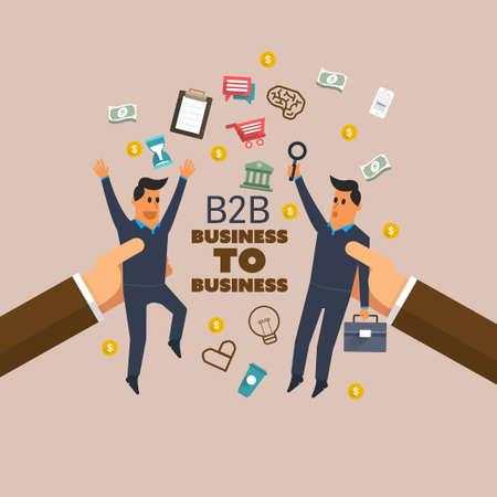 b2b: Concepto de las finanzas: B2B. Ilustraci�n vectorial sobre el negocio de dise�o plano empresarial.