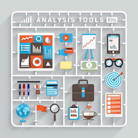 Vector maquetas diseño plano para Herramientas de análisis. Elemento para el uso para el pensamiento creativo éxito