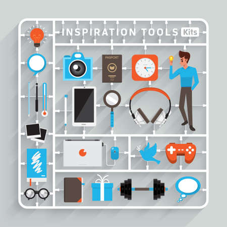 Vector flaches Design Bausätze für Inspiration Werkzeuge. Element für den Einsatz zum Erfolg kreatives Denken Illustration