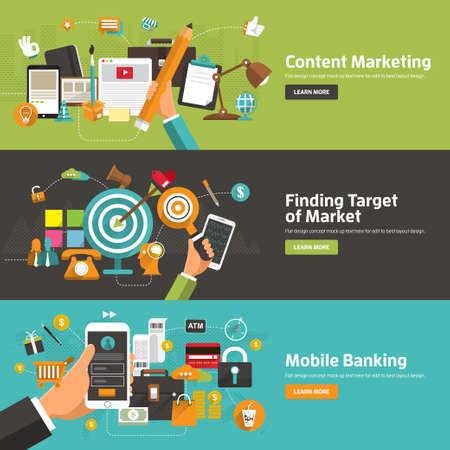 Concetti di design piatto fo r Content Marketing, Ricerca obiettivo di mercato, Mobile Banking. Concetti per banner web e materiale promozionale. Archivio Fotografico - 37114329