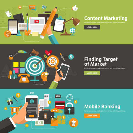 app banner: Flat design concepts fo r Content Marketing, Finding Target of Market, Mobile Banking. Concepts for web banners and promotional materials.