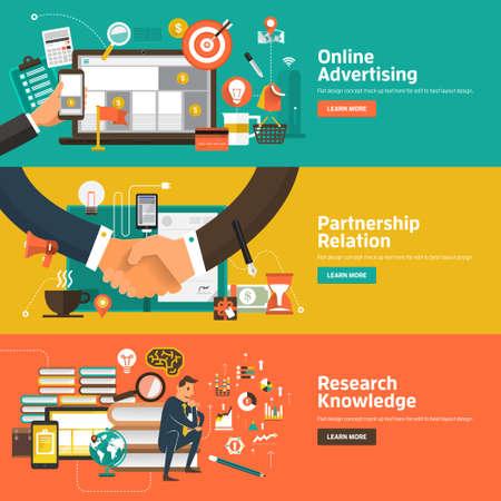 온라인 광고, 제휴 관계, 연구 기술 플랫 디자인 개념. 웹 배너 및 홍보 자료에 대한 개념.