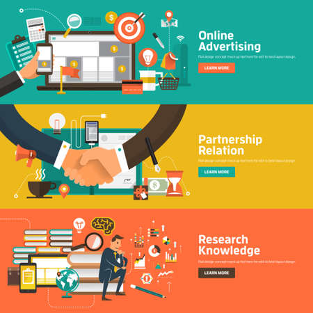knowledge: Flat design concepts for Online Advertising, Partnership Relation, Research Knowledge. Concepts for web banners and promotional materials.