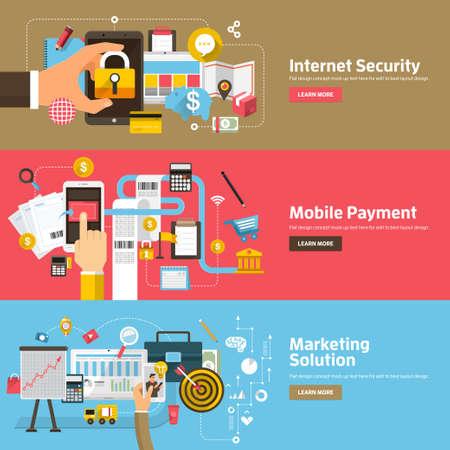 Conceptos de diseño plano para seguridad de Internet, pago móvil, solución de marketing. Conceptos para banners web y materiales promocionales. Ilustración de vector