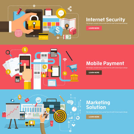Flat design concepts for Internet Security, Mobile Payment, Marketing Solution. Concepts for web banners and promotional materials.