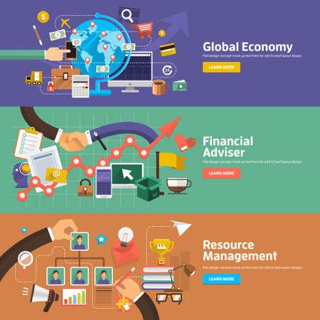 Conceptos de diseño planos para la Economía Global, Asesor Financiero, Administración de Recursos. Conceptos para la web banners y materiales promocionales.