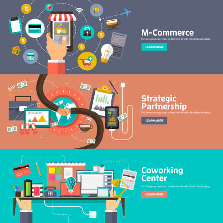 partnership strategy: Flat design concepts for M-Commerce, Strategic Partnership, Coworking Space Center. Concepts for web banners and promotional materials.