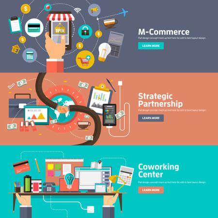 M-コマース、戦略的パートナーシップ、コワーキング スペース センターの概念でフラットなデザイン。ウェブのバナーや販促のための概念。