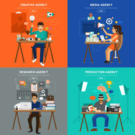 広告代理店型フラット デザイン コンセプト。クリエイティブ、メディア、研究と生産の家代理店。  イラスト・ベクター素材