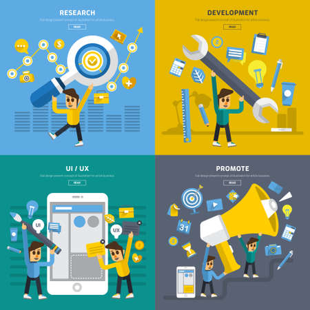 promote: Flat design concept application mobile development by step research, Design, UIUX and promote.