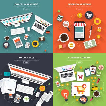 redes de mercadeo: Comercialización plana concepto diseño digital, marketing móvil, comercio electrónico y concepto de negocio. Vectores