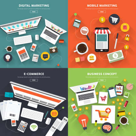 Flat design concept digital marketing, mobile marketing, E-Commerce and business concept.