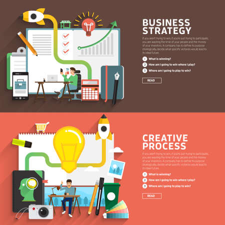 creativity concept: Business strategy and creative process by flat design.illustrate for use in layout design.