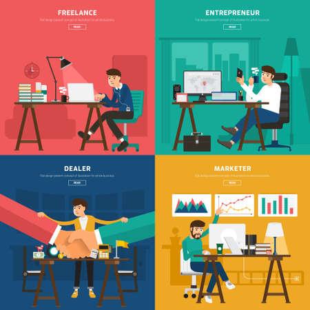 Platte design concept samen te werken centrum voor werknemer freelance, ondernemer, handelaar, en marketeer. Illustreren voor banner en geschenkideeën