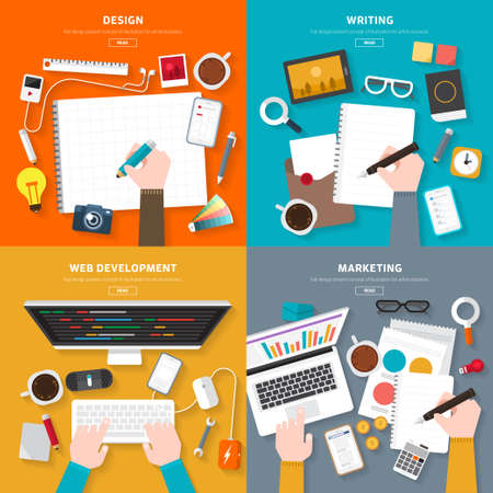 web development: Flat design top view on desk concept Design, Writing, Web Development, Marketing. illustrate for flexible design banner. Illustration