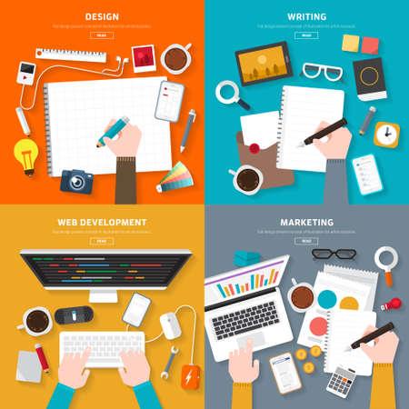 Płaska widok z góry na biurko koncepcji projektu, pisanie, Web Development, Marketing. zilustrować na elastyczne projektowanie banner. Ilustracje wektorowe